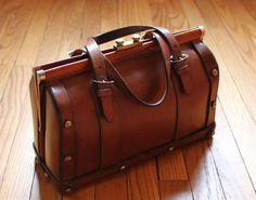 SOLD 70s Vintage Leather Doctor Bag Purse Satchel by EarthshineVintage, $125.00