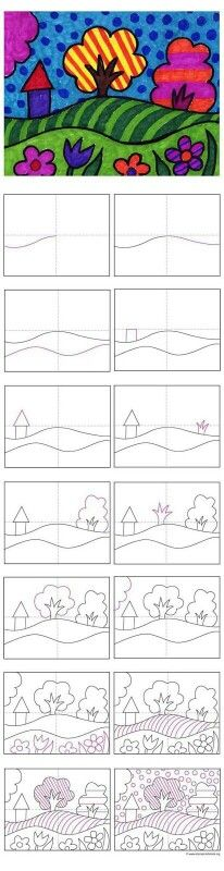 Art Projects for Kids: New Pop Art Landscape Tutorial. Maybe have it drawn out and then let students draw/color to work on line, color, pattern, shape, ect Pop Art Landscape Instructions Drawing Lessons, Art Lessons, Drawing Practice, School Art Projects, Projects For Kids, Drawing For Kids, Art For Kids, Drawing Art, Kids Fun