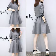 Simple Dresses, Casual Dresses, Short Dresses, Casual Outfits, Simple Frock Design, Hijab Fashion, Fashion Dresses, Straps Prom Dresses, Striped Shirt Dress