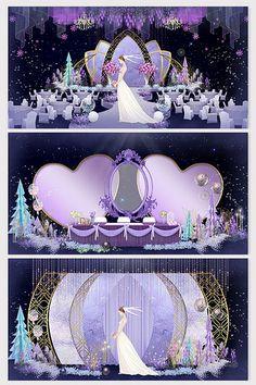 Fashion dreamy light luxury purple marble wedding renderings#pikbest#decors-models Wedding Backdrop Design, Wedding Stage Design, Wedding Stage Decorations, Indian Wedding Receptions, Wedding Mandap, Telugu Wedding, Wedding Humor, Wedding Car, Wedding Ideas