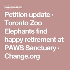 Petition update · Toronto Zoo Elephants find happy retirement at PAWS Sanctuary · Change.org
