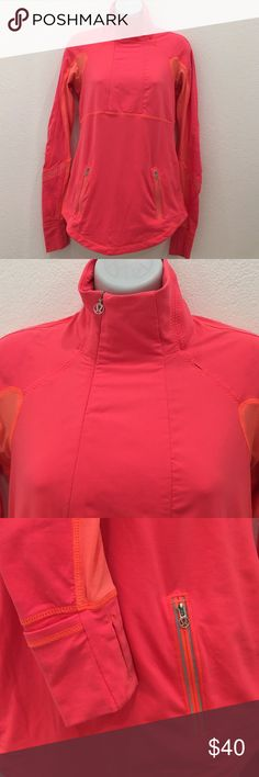 Lululemon Neon Orange Zipup Top size 6 Preowned Lululemon Neon Orange Zipup Top size 6. I stained it with fabric softener. If you know how to take it out, please give me your trick. Has thumb holes and front pockets. Please look at pictures for better reference. Happy shopping!! lululemon athletica Tops Tees - Long Sleeve