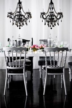 More chandeliers! #chandelier #black #home #decor #dining #table