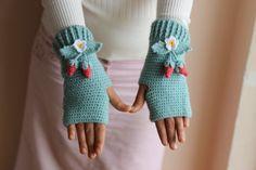 Mint Crochet  Fingerless Gloves- Wristwarmers-Arm warmers with Strawberries