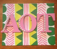 Cute small wooden letters against a canvas! LOVE. For future little??