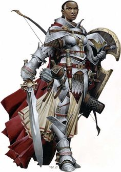 """People have been submitting some of the Paizo iconics, and they are nice, albeit a little """"too much stuff""""-y in that Wayne Reynolds (the artist in question) kinda way. Here's Seelah the Paladin."""