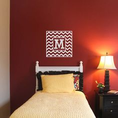 22x22 CHEVRON INITIAL MONOGRAM Wall Decal vinyl by LivelyLettering