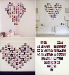 Bedroom decor, diy room decor, home decor, photo collages, heart picture .