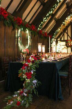 Holiday Wedding Head Table Décor Photography: Robyn Rachel Photography Read More: http://www.insideweddings.com/weddings/christmas-theme-wedding-with-festive-red-green-decor-in-illinois/729/