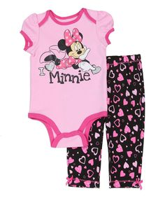 Another great find on #zulily! Pink Minnie Mouse Bodysuit & Black Heart Leggings - Infant by Minnie Mouse #zulilyfinds