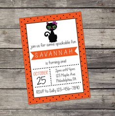 Black Cat Halloween invitation for a Girl - Includes a Bow on the Black Cat - Halloween Birthday Party Invitation