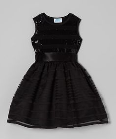 Take a look at this Black Sequin Dress - Infant, Toddler & Girls by Dreaming Kids on #zulily today!