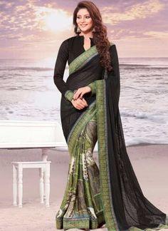 Black Printed Border Lace Work Chiffon Butti Georgette Half Designer Sarees http://www.angelnx.com/Sarees/Designer-Sarees
