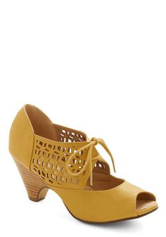 I have these....  LOVE the way they look, but after awhile they are painful to wear. Cube Your Enthusiasm Heel in Mustard, #ModCloth