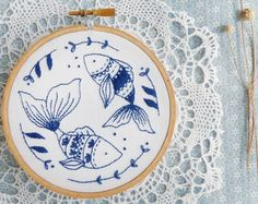 Blue wall art Sea blue Hand embroidery Ocean by TamarNahirYanai                                                                                                                                                                                 More