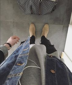 Common Projects Chelsea Boots, Acne tee, Nudies Denim jacket.