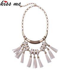KISS ME Fashionable Imitation Leather Necklace 2016 New Alloy Tassel Pendants Choker Necklace Women Gift