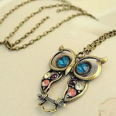 Sweater Coat Necklace Crystal Big Blue Eyed Owl Long Chain Pendant Necklace Accessory