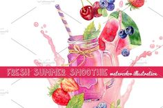 Smoothie in mason jar by Natasha Koltsova on @creativemarket