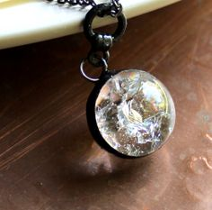 Handmade Crackle Clear Marble Orb – Stained Glass Neckl. Starting at $1 on Tophatter.com!