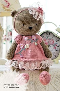Polushkabunny Toy clothes knitting pattern for a bear - Shabby Chic Style Outfit for Teddy Bear Baby Bonnet Pattern, Crochet Teddy Bear Pattern, Crochet Headband Pattern, Crochet Toys Patterns, Amigurumi Patterns, Stuffed Toys Patterns, Crochet Dolls, Knitting Patterns, Crochet Deer