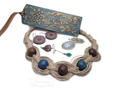Turquoise set: linen necklace, wire-wrapped rose, folk decoupage earrings, pendant with glass cabochon and wooden bookmark