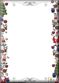 Printable Christmas Border Writing Paper | Gift Tag letter cards: click the links below the image to download