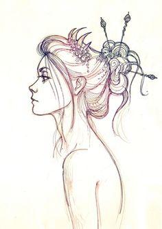pretty hair sketch.
