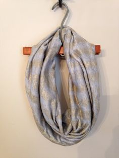 Grey and Gold Abstract Infinity Scarf by KutKloth on Etsy, $15.00