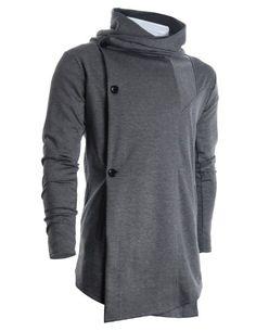 FLATSEVEN Mens Designer Turtleneck Hoodie Unbalanced Long Cardigan Jacket (CL01) Grey FLATSEVEN #menswear #mens fashion #denim #clothes mens