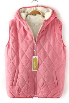 fleece lined pink puffer vest