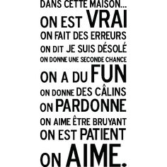 Vente Stickers / 19299 / Musique et lettrage / Sticker Dans cette maison, on aime Noir Stickers Citation, Positiv Quotes, Quote Citation, French Quotes, My Mood, Some Words, Positive Attitude, Life Inspiration, Quote Of The Day