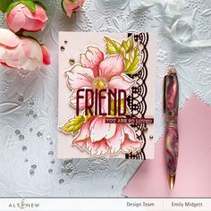 Altenew Cards, Cardmaking And Papercraft, Flower Stamp, Cards For Friends, Friend Cards, Card Tutorials, Pretty Cards, Diy Cards, Quick Cards