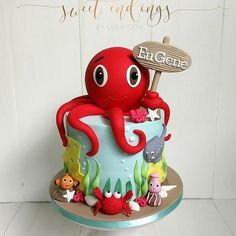 Ocean Birthday Cakes, Ocean Cakes, First Birthday Cakes, 3rd Birthday, Baby Cakes, Cupcake Cakes, Decors Pate A Sucre, Octopus Cake, Nautical Cake
