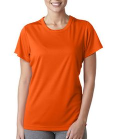 8420L Ultraclub Ladies Cool Dry Sport Performance Interlock Tee Orange