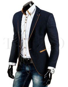 Pánské elegantní sako - Stilago, tmavě modré Suit Jacket, Blazer, Suits, Jackets, Men, Fashion, Down Jackets, Moda, Fashion Styles
