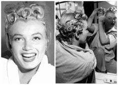 Marilyn with her pin curls