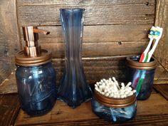Mason Jar Soap Dispenser Bathroom Set 4 by SwiftRiverCreations, $29.50