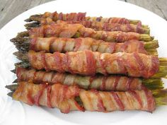 "Roasted Bacon Wrapped Asparagus - tried this at Thanksgiving and failed miserably. Burnt asparagus (wasn't able to watch it carefully enough), a slightly angled pan lead to a grease drip in my oven, black smoke ensued. A true ""nailed it"" moment! Vegetable Side Dishes, Vegetable Recipes, Bacon Roll, Bacon Bacon, Turkey Bacon, Roasted Bacon, Asparagus Bacon, Bacon Wrapped Asparagus Baked, Prosciutto"