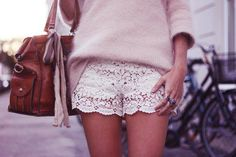 lace shorts and sweater is a perfect combo! I want lace shorts! White Lace Shorts, Eyelet Shorts, Floral Shorts, Sweater And Shorts, Gray Sweater, Boy Shorts, New Wardrobe, Summer Wardrobe, Wardrobe Ideas