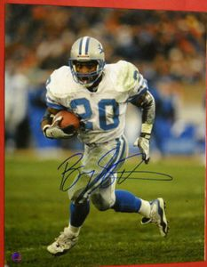 $179.44 Autographed Barry Sanders 16 X 20 photo. Wonderful image of the legendary Lion making one of his classic runs! It comes with a Schwartz Sports Authentication tamper proof hologram sticker, so you know it's authentic. This is the ultimate birthday/ anniversary gift to give a sports fan! A stunningly large 16 X 20 photo ready to be displayed in your sports room! This is an absolute must for all football fans!