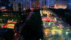 Hong Kong crowds rally for democracy .Hong Kong Victoria Park, where the march began (night time)