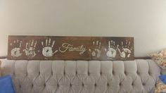 Family handprint sign. #diy #homedec #wood #sign #familyfun #family #pine