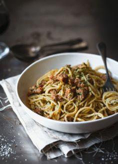 Pasta with pesto cream sausage meat