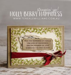 Teneale Williams | Stampin' Up! Australia | Christmas Catalogue Holly Berry…