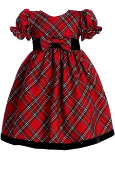 Red & Green Plaid Holiday Dress with Black Velvet Trim (Baby or Toddler Girls)