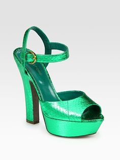 Going Green!  Sergio Rossi- Laminated Watersnake Platform Sandals
