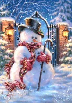 Forest Snowman I Canvas Art Print by The Macneil Studio