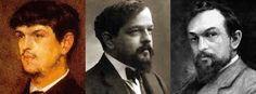 Ezen a három képen ismerhetitek meg Debussyt. Egy fiatalkori, és két idősebb képet láthattok róla.