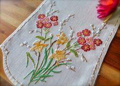 Beautiful Raised Hand Embroidered Vintage by GardenOfCrinoline Hand Embroidery Projects, Hand Embroidery Designs, Vintage Embroidery, Embroidery Motifs, Pussy Willow, Vintage Sewing Rooms, Floral Hoops, Linens And Lace, Coordinating Colors